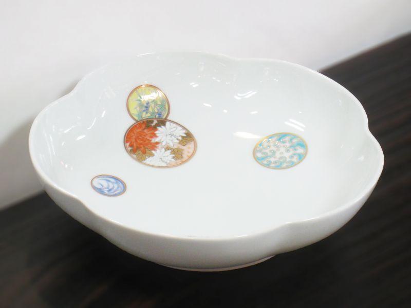 深川製磁 寿赤絵 梅型6号鉢 - 土...