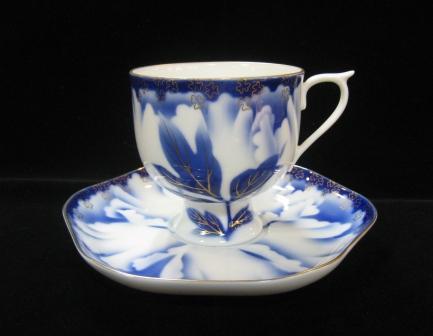 深川製磁 牡丹金ミル 高台コーヒー碗皿                                     [0941-700]